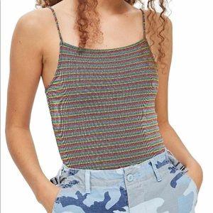 Topshop Metallic Stripe Bodysuit